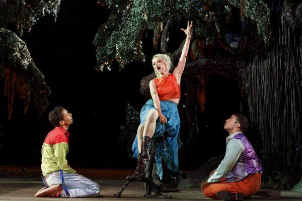Kyle Beltran, Annaleigh Ashford, and Alexander Hernandez in A Midsummer Night's Dream. Credit: Joan Marcus