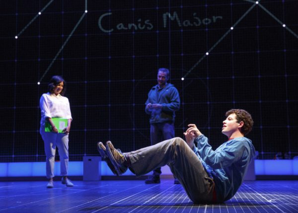 l-r, Maria Elena Ramirez and Adam Langdon (on the floor) in The Curious Incident f the Dog in the Night-Time at the Ahmanson Theatre.