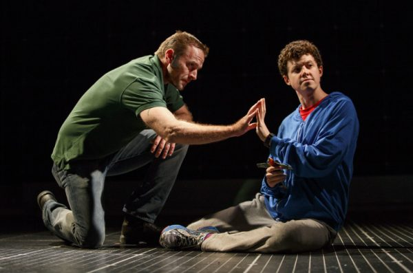 l-r, Gene Gillette communicating with son Christopher played by Adam Langdon in the Curious Incident of the Dog in the Night-Time.