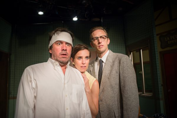l-r: Keith Stevenson, Carole Weyers and Jeff Lorch in Rhinoceros at PRT.