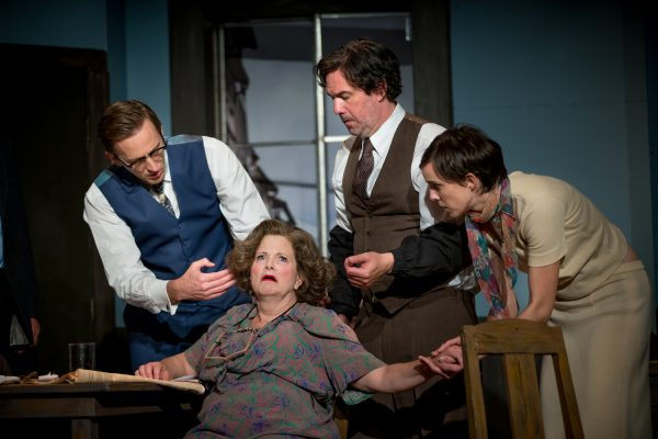 l-r: Jeff Lorch, Sarah Brooke, Keith Stevenson and Carole Weyers in Rhinoceros at Pacific Resident Theatre.