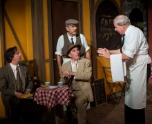 l-r, Kith Stevenson, Robert Lesser, Peter Ebling and Brad Greenquist in Rhinoceros at Pacific Resident Theatre.