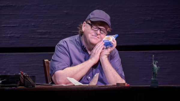 Michael Moore in his one-man show The Terms of My Surrender. Credit: Joan Marcus