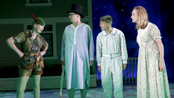 Kathleen Chalfant, Daniel Jenkins, Keith Reddin, and Lisa Emery in To Peter Pan on Her 70th Birthday. Credit: Joan Marcus