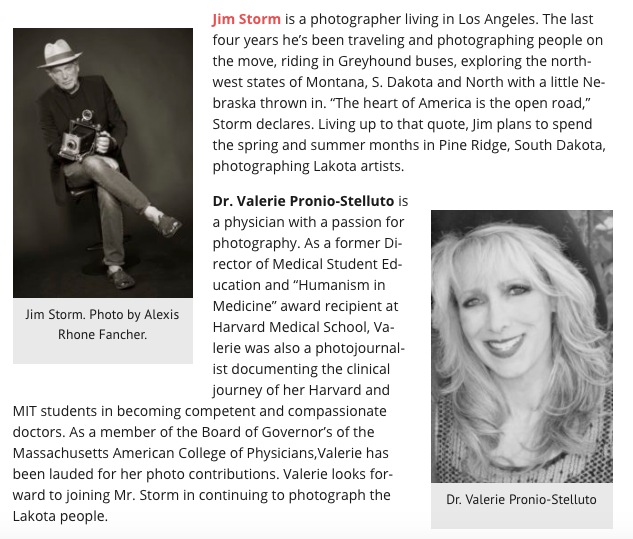 Bios for Cultural Weekly photographers and writers, Jim Storm and Dr. Valerie Pronio-Stelluto.