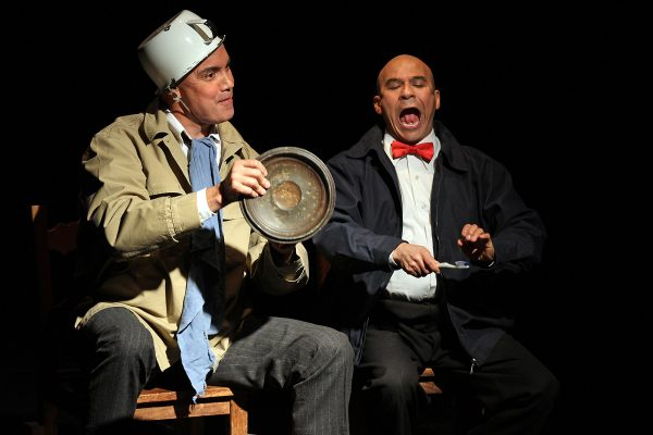 l-r, Jesús Castaños-Chima and Tony Durán in La Razon Blindada at 24th Street Theatre. Photo by Juan Tallo.