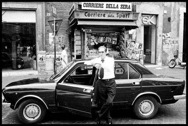 Tassista=taxi driver. Roma, Italy. June 1976