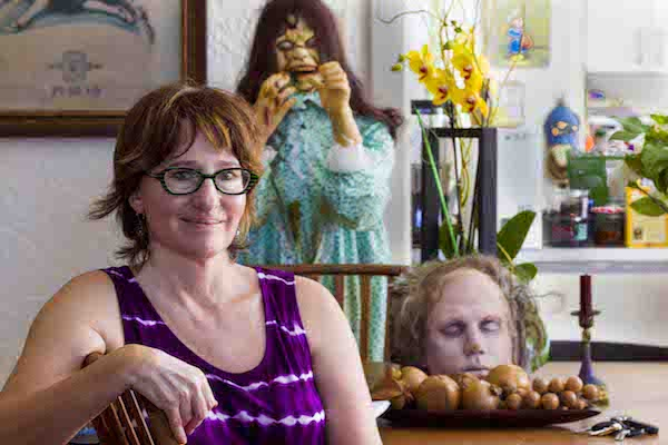 Sharon Yablon, playwright. At home with friends. Photography by Jim Storm. Cultural Weekly.