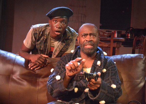 l-r, Omete Anassiand Christopher Carrington in Br'er Cotton at The Zephyr Theatre. Photo by Ed Krieger.