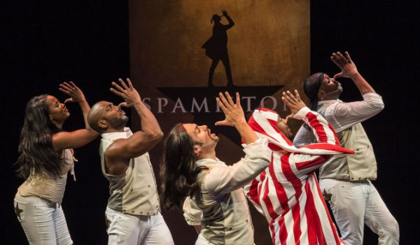 The cast of Spamilton thumbing its nose at us.