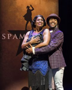 Zakiya Young and John Deveraux as Porgy and Bess in Spamilton at The Kirk Douglas Theatre.