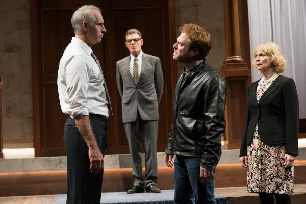 l-r, Jim Abele, Mark Capri & Dylan Saunders in KIing Charles III at The Pasadena Playhouse. Photo: Jenny Graham.