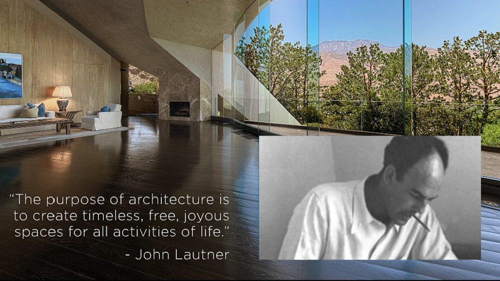 John Lautner. Background: Bob Hope Residence.