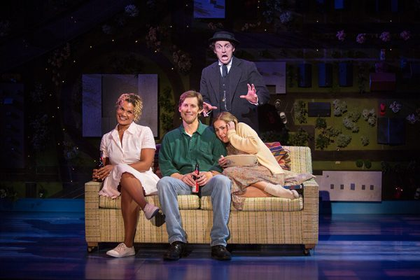 (from left) January LaVoy as Ruthie, Andrew Samonsky as Benny, Bryce Pinkham as Sam, and Hannah Elless as Joon in Benny & Joon, book by Kirsten Guenther, music by Nolan Gasser, lyrics by Mindi Dickstein, directed by Jack Cummings III, running September 7 – October 22, 2017 at The Old Globe. Photo by Jim Cox.