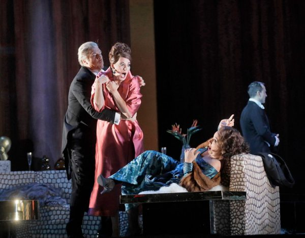 Rod Gilfry, Amanda Echalaz, and Christine Rice in The Exterminating Angel. Credit: Ken Howard/The Metropolitan Opera