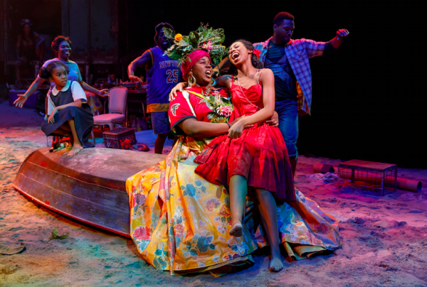 Mia WIlliamson, Alex Newell, and Hailey Kilgore in Once on This Island. Credit: Joan Marcus