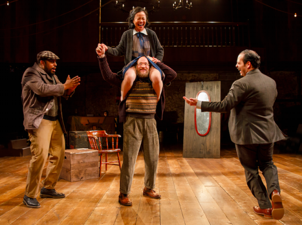 David Samuel, Tina Chilip, Andy Grotelueschen, and Paco Tolson in Fiasco Theater's Twelfth Night at CSC. Credit: Joan Marcus