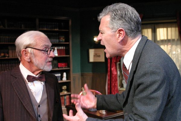 l-r: Martin Rayner & Martyn Stanbdrige in Freud's Last Session at The Odyssey Theatre. Photo by Enci Box.