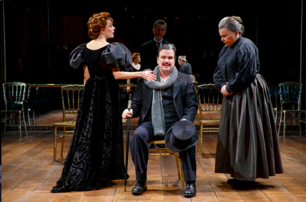 Marin Mazzie, Douglas Hodge, John Glover (background), and Marsha Mason in Fire and Air. Credit: Joan Marcus