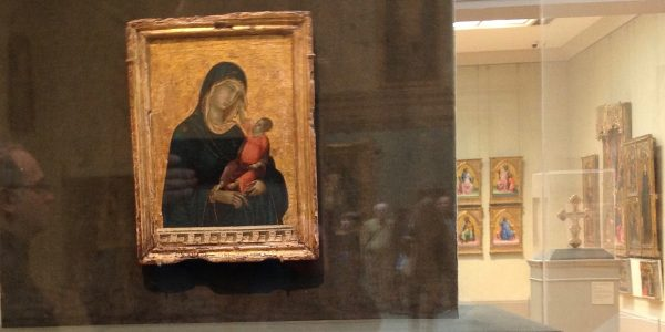 View of 14th century Italian paintings gallery, in foreground Duccio di Buoninsegna, Mother and Child, Sienese circa 1300. Acquired 2004