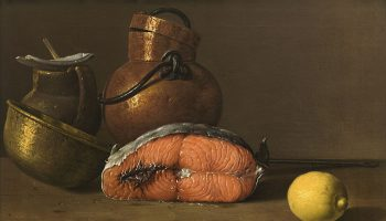 Luis_Melendez, 'Still Life With Salmon, Lemon and Three Vessels'