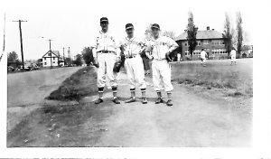 John Ymrus's dad in his baseball uniform (far right)