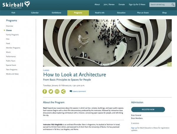 "Class: ""How to Look at Architecture."" Skirball, Jan. 16 to Feb. 20, 2018."