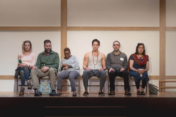 l-r: Brenna Palughi (Alicia), Ben Beckley (Ned), Edward Chin-Lyn (Rodney), Connor Barrett (Jan), Cherene Snow (Judy), Socorro Santiago (Joan) in Small Mouth Sounds at The Broad Stage.