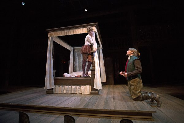Carmela Corbett and Paul David Story in Shakespeare in Love at South coast Repertory.