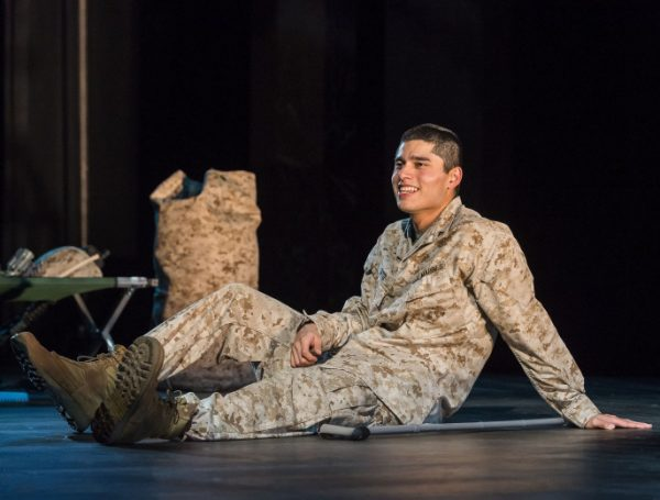 Peter Mendoza as Elliot, the soldier in Quiara Alegria Hudes' Elliot, A Soldier's Fugue at The Kirk Douglas Theatre.