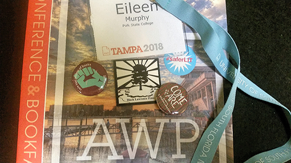 AWP program, badge & lanyard, and swag (button-Rain Taxi, coaster-Black Lawrence, button-Come As You Are anthology, Editor E Kristen Anderson, sticker-saferlit