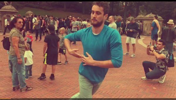 Chris Makens dances at Bethesda Fountain