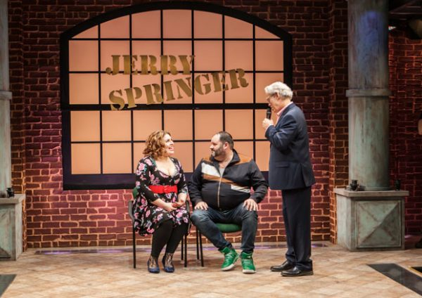 Florrie Bagel, Luke Grooms, and Terrence Mann in Jerry Springer--The Opera. Credit: Monique Carboni