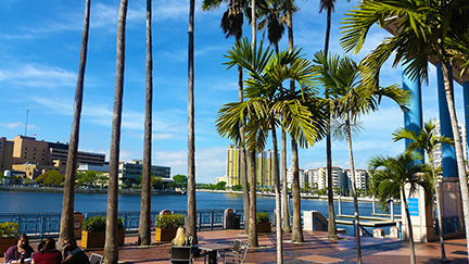 The patio on the back side of Tampa Convention Center is a place to rewind.