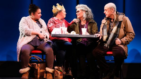 Vanessa Aspillaga, Jamie Brewer, Debra Monk, and Mark Blum in Amy and the Orphans. Credit: Joan Marcus