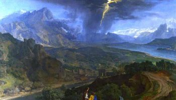 'Mountain Landscape With Lightning' Francisque Millet