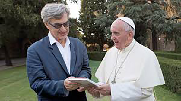 The Pope with Wim Winders - Photo: Focus Features via AP.