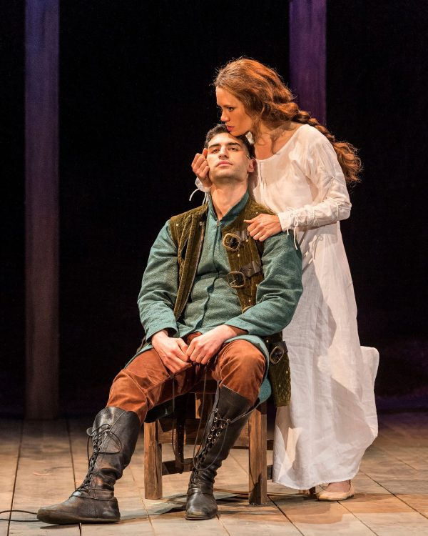 Raffi Barsoumian and Emily Swallow in The SCLA Henry IV. Photo by Craig Schwartz.