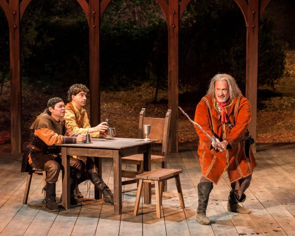 l-r: Chris Rivera, Hamish Linklater & Tom Hanks in the SCLA production of Henry IV. Photo by Craig Schwartz.