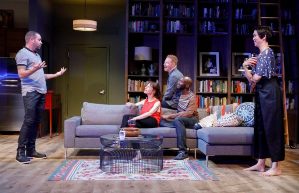 Ian Harvie, Dolly Wells, Jesse Tyler Ferguson, Philip James Brannon, and Cindy Cheung in Log Cabin. Credit: Joan Marcus