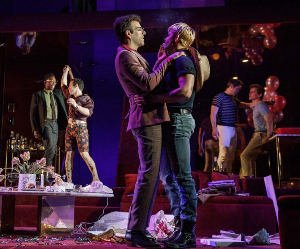 Michael Benjamin Washington, Robin de Jesus, Zachary Quinto, Charlie Carver, Andrew Rannells, and Matt Bomer in The Boys in the Band. Credit: Joan Marcus