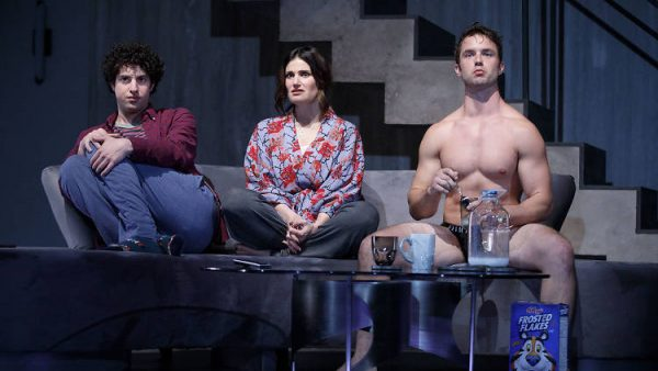 Eli Gelb, Idina Menzel, and Will Brittain in Skintight Credit: Joan Marcus