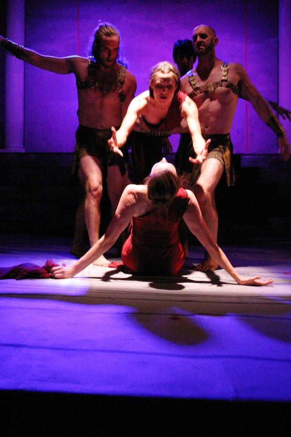 Not Man Apart Physical Ensemble in Lysistrata. Photo by Enci Box.