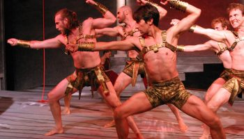 """Not Man Apart Physical Theatre in """"Lysistrata Unbound"""".  Photo by Enci Box."""