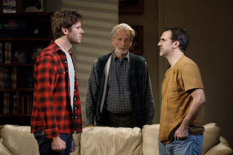 Armie Hammer, Stephen Payne, and Paul Schneider in Straight White Men. Credit: Joan Marcus
