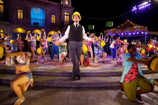Andrew Kober (center) and the cast of Twelfth Night at Central Park's Delacorte Theatre. Credit: Joan Marcus