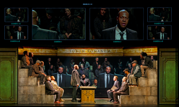 Members of the company in the Stratford Festival production of Coriolanus. Credit: David Hou