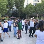 Salsa dancing by the Seine.