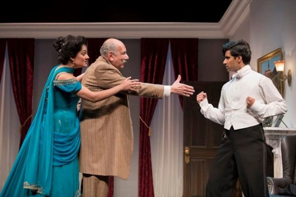 Krystal Kiran, David Adams, and Shawn Ahmed in How He Lied to Her Husband, part of Of Marriage and Men at the Shaw Festival. Credit: Emily Cooper