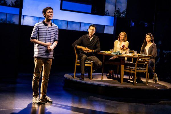 l-r, Ben Levi Ross, Aaron Lazar, Christiane Noll & Maggie McKenna in Dear Evan Hansen at The Ahmanson Theatre.